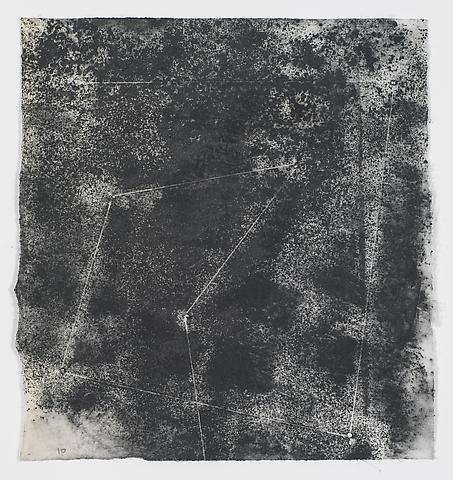 Jack Whitten, Target (In & Out) #15 (2011) Magnetite and acrylic on rice paper 8.38h x 8w in (21.29h x 20.32w cm)
