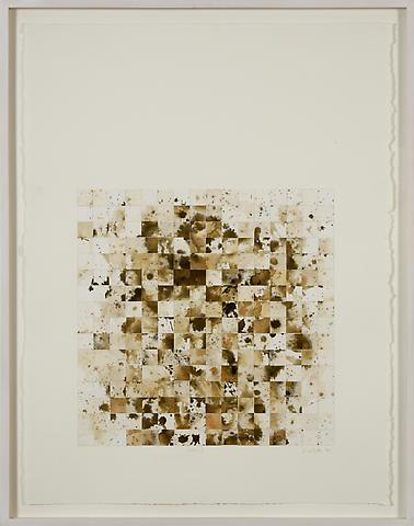 Genesis I (1992) Sepia ink rice paper collage 30h x 22.5w in (76.2h x 57.15w cm)
