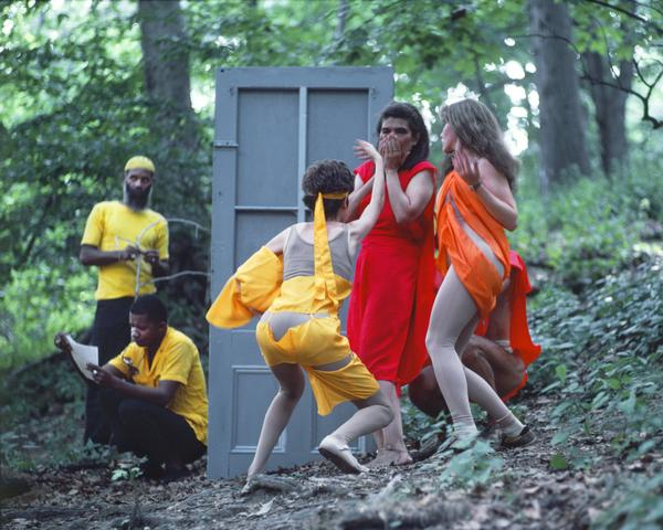 Rivers, First Draft: The Artists in Yellow work on their projects as the Woman in Red struggles with the Debauchees (1982/2015) Digital C-print from Kodachrome 35mm slides in 48 parts, 16h x 20w in (40.6h x 50.8w cm) Edition of 8 with 2 AP