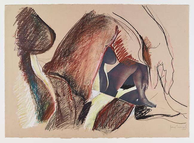 Joan Semmel; Untitled (1978) Oil crayon and collage on paper 21.5h x 30w in (54.61h x 76.2w cm)