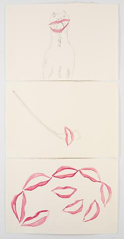 Lipstick Sarah (2008) Graphite and watercolor on paper   Triptych; 22h x 15w in (55.88h x 38.1w cm)