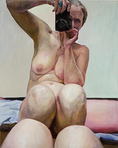 Knees Together (2003) Oil on canvas 60h x 48w in (152.4h x 121.92w cm)