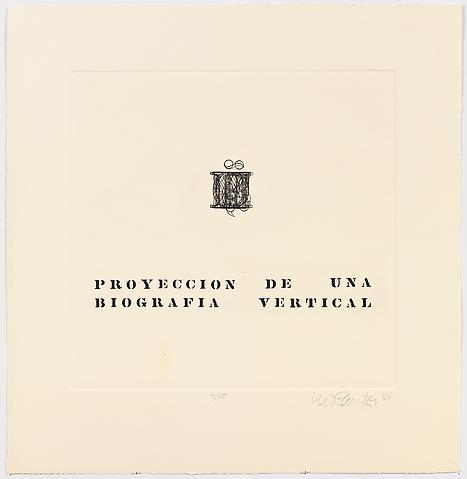 Proyeccion de una Biografia Vertical (1969) Etching 25.75h x 24.75w in (65.4h x 62.9w cm)