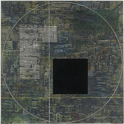 Psychic Intersection (1979-1980) Acrylic on canvas 42h x 42w x 1.5d in (106.7h x 106.7w x 3.8d cm)