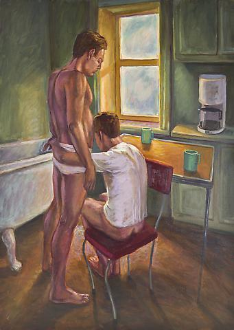 Mr. Coffee (1993) Oil on canvas 48h x 34w in (121.92h x 86.36w cm)