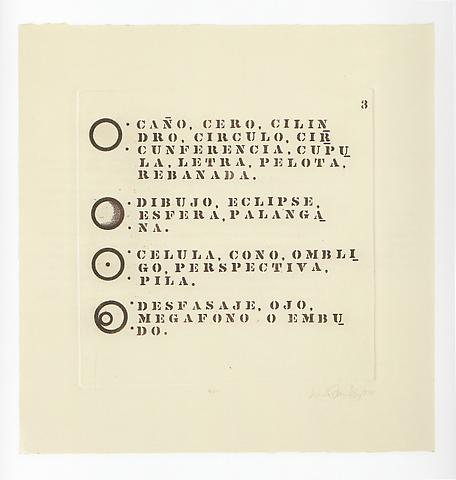 Dictionary 3 (1970) Etching 25.2h x 24.41w in (64.01h x 62w cm)