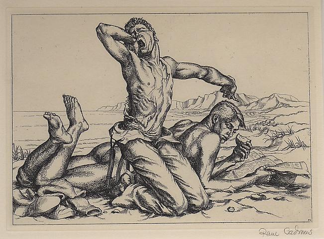 Paul Cadmus, Two Boys on a Beach No. 1 (1938) Etching on paper 5.13h x 7.13w in (13.03h x 18.11w cm)