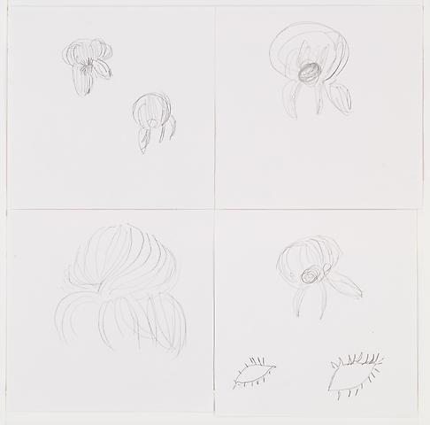 Sarah Palin Hair Spider  (2008) Graphite and watercolor on paper  Parts of 4; 6h x 6w in (15.24h x 15.24w cm)