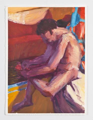 Foot Care (1987) Oil on gessoed paper 15.2h x 11w in (38.6h x 27.9w cm)