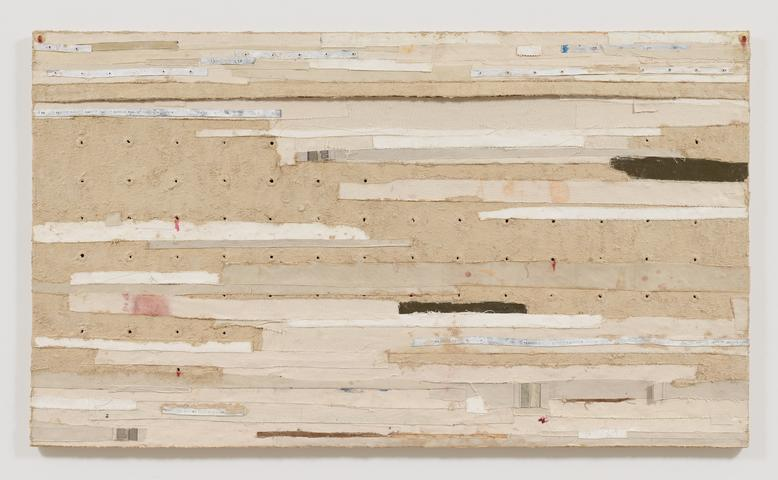 Bandaged Grid #1 (2015) Oil and mixed media on canvas 44.25h x 76.5w x 2.5d in (112.4h x 194.3w x 6.4d cm)