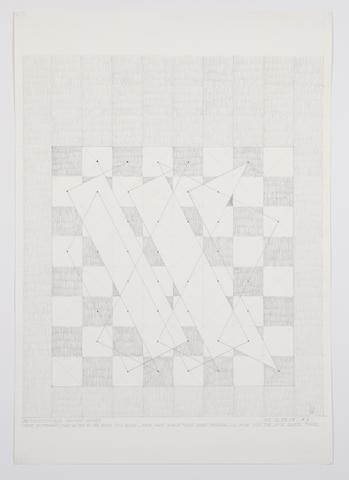 39 Continuous Knight Moves (NY 12-28-74 #6) (1974) Graphite on paper 28.5h x 20w in (72.4h x 50.8w cm)