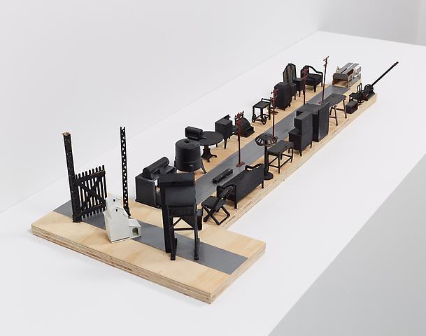 Tomb for John Berryman (2014) Plywood, plastic, balsa wood, tape, paint 6.75h x 14.25w x 34.75d in (17.1h x 36.2w x 88.3d cm)
