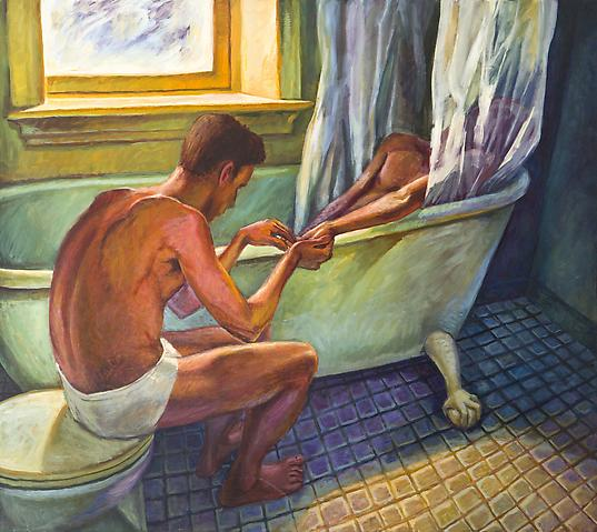 Bath Curtain (1992) Oil on canvas 71.94h x 60.13w in (182.73h x 152.73w cm)