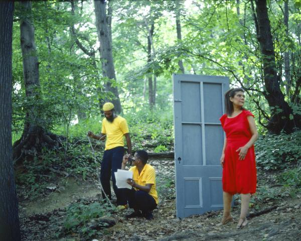 Rivers, First Draft: The Woman in Red hesitates outside after the Black Male Artists in Yellow eject her (1982/2015) Digital C-print from Kodachrome 35mm slides in 48 parts, 16h x 20w in (40.6h x 50.8w cm) Edition of 8 with 2 AP