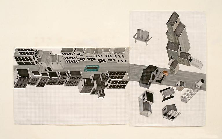 Tomb for John Berryman (1972-2012) Felt pen on graph paper 36h x 60w in (91.4h x 152.4w cm)