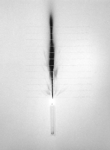 The Book of Time (El Libro del Tiempo) (1972/2010) Candles and pencil on wall 36.02h x 77.56w x 1.38d in (91.49h x 197w x 3.51d cm)