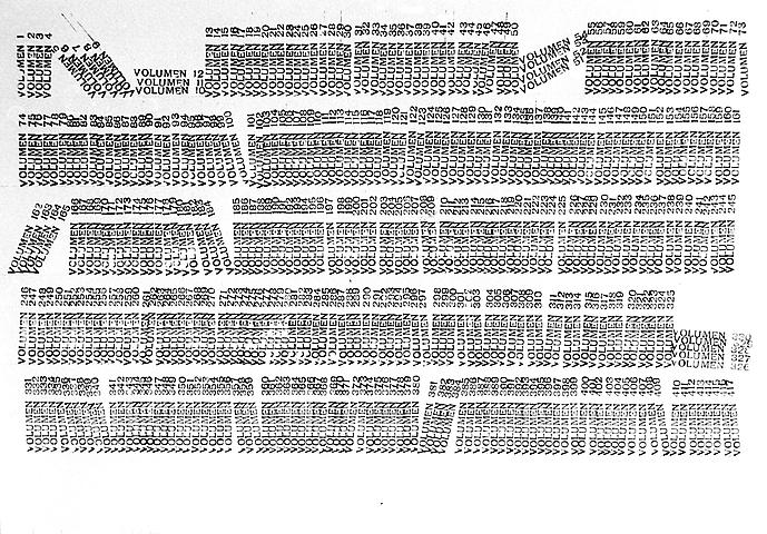 Library (1968-1973) Rubber stamp on paper 20.47h x 27.36w in (52h x 69.5w cm)