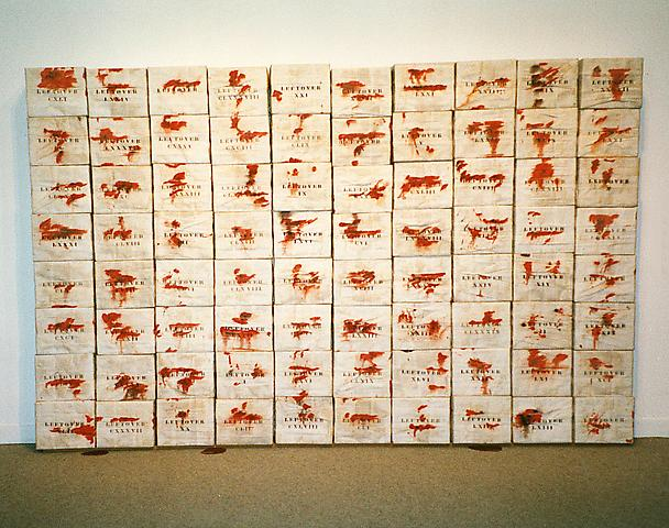Leftover (1970) Mixed media, cardboard boxes 12h x 24w x 12d in (30.48h x 60.96w x 30.48d cm)