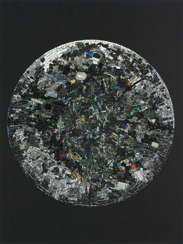 Black Monolith V Full Circle: For LeRoi Jones AKA Amiri Baraka (2014) Acrylic on canvas 84h x 63w in (213.4h x 160w cm)