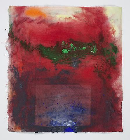 Saturation #18 (2011) Acrylic, dry pigment, collage on rice paper 8.5h x 7.75w in (21.59h x 19.68w cm)
