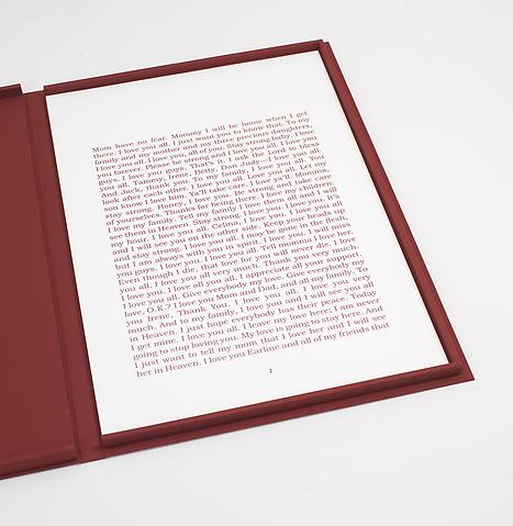 Last Words (2008) Pigment print; in 6 Parts; 66h x 44w in (167.64h x 111.76w cm) Edition of 3 with 1 AP