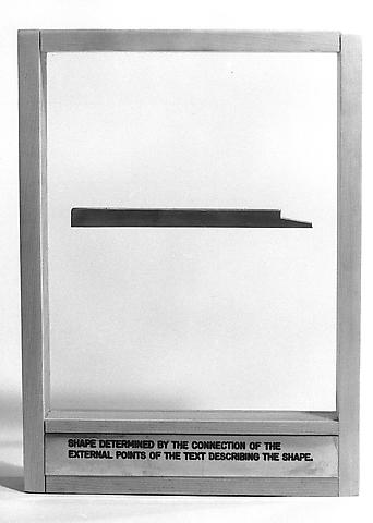 Shape Determined by the Connection of the External Points of the Text Describing the Shape (1972-1974) Brass object, engraved brass plaque, glass, and wood 13.78h x 9.88w x 1.97d in (35h x 25.1w x 5d cm)