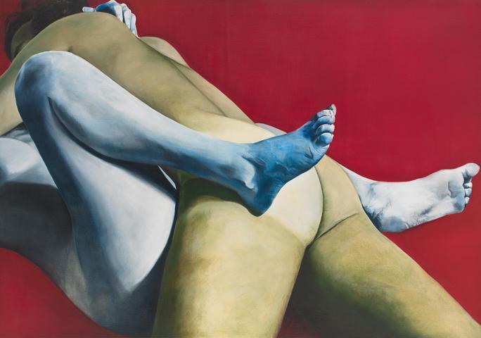 Red White and Blue (1973) Oil On Canvas 45.3h x 64w in (115.1h x 162.6w cm)