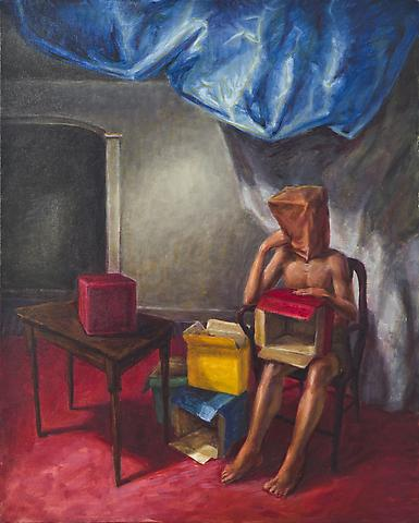 Boxes (1990) Oil on canvas 40h x 32w in (101.6h x 81.28w cm)