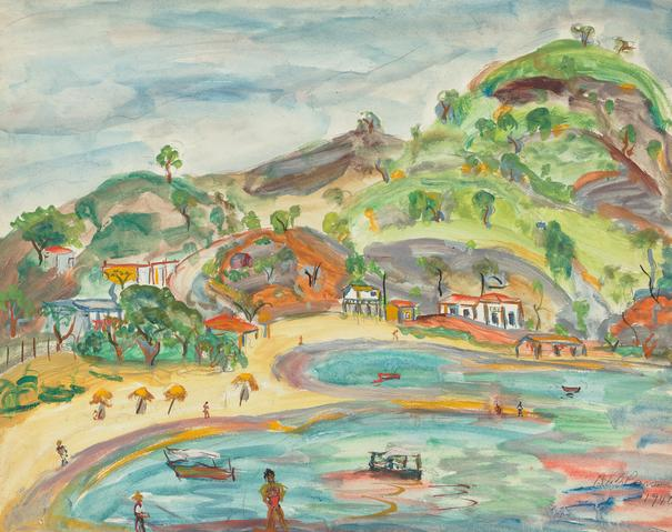 Celeste Beach, Acapulco Mexico (1940) Graphite and gouache on paper 15.75h x 19.75w in (40h x 50.2w cm)