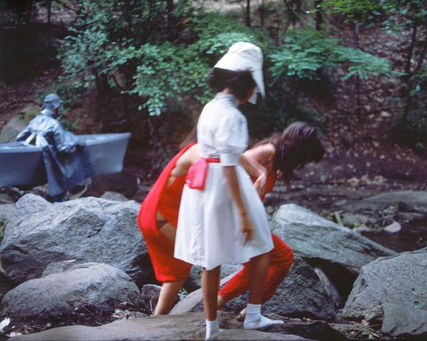 Rivers, First Draft: The Woman, the Teenager in Magenta, and the Little Girl in Pink Sash steady each other's footing (1982/2015) Digital C-print from Kodachrome 35mm slides in 48 parts, 16h x 20w in (40.6h x 50.8w cm) Edition of 8 with 2 AP