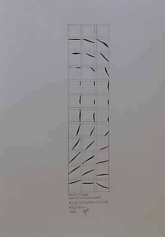 Hassan Sharif; Square and Line B (2009)  Ink and pencil on paper 23.43h x 16.54w in (59.51h x 42.01w cm)