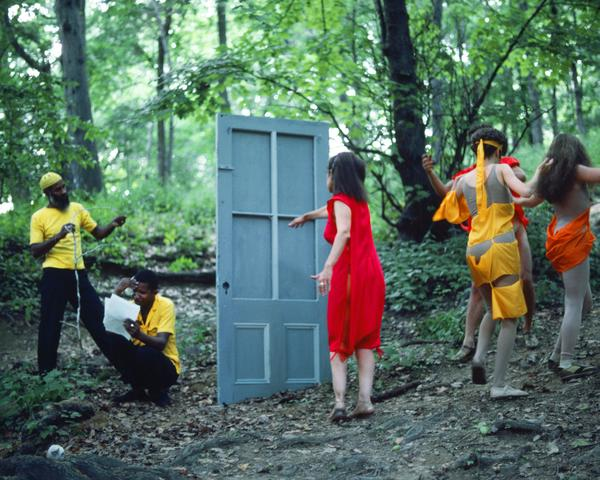 Rivers, First Draft: The Woman in Red goes to the Black Male Artists' door and the Debauchees dance back up the hill (1982/2015) Digital C-print from Kodachrome 35mm slides in 48 parts, 16h x 20w in (40.6h x 50.8w cm) Edition of 8 with 2 AP