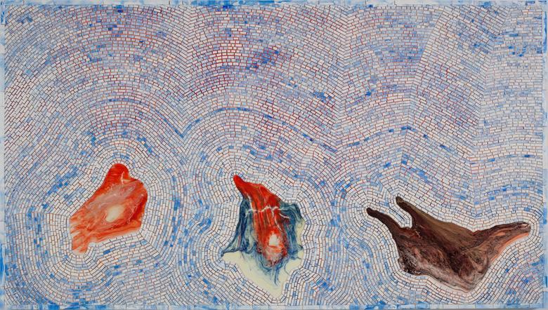 Zeitgeist Traps (For Michael Goldberg) (2009) Acrylic on canvas 43h x 76.4w in (109.2h x 194.1w cm)