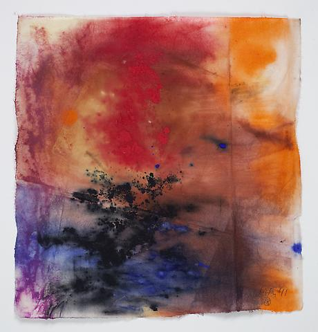 Saturation #10 (2011) Acrylic, dry pigment, collage on rice paper 8.5h x 7.75w in (21.59h x 19.68w cm)