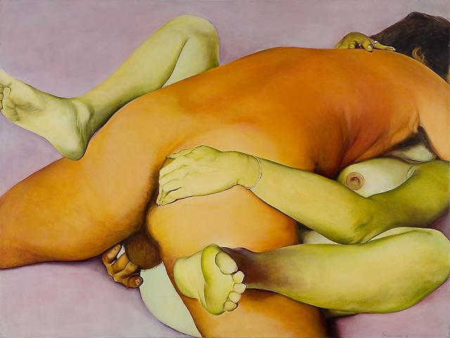 Indian Erotic (1973) Oil on canvas 54h x 72w in (137.16h x 182.88w cm)