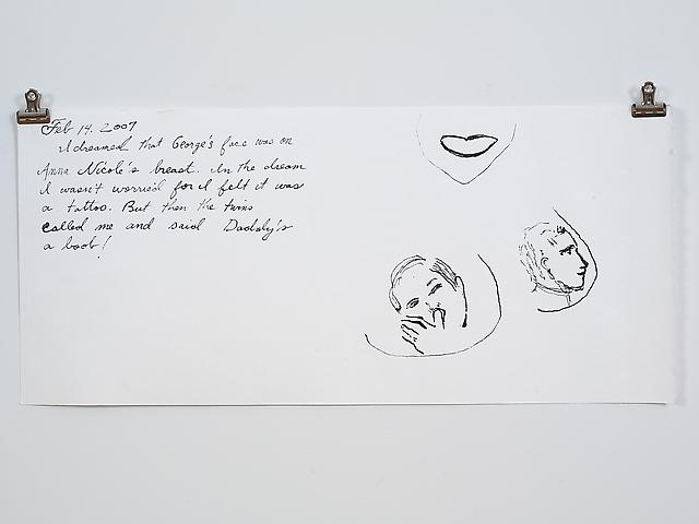 Dreams of Laura Bush (Anna Nicole) (2006) Ink on paper 9h x 20w in (22.86h x 50.8w cm)