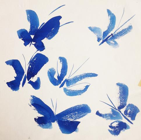 "Untitled, from the ""Butterflies"" series (c. 1977) Watercolor on paper 10h x 10w in (25.4h x 25.4w cm)"