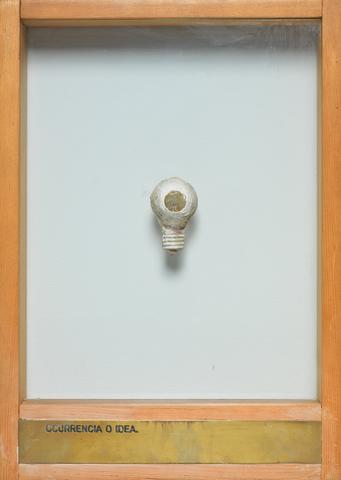 Luis Camnitzer, Ocurrencia o Idea. (1974-1976) Mixed media 13.75h x 9.75w x 2d in (34.9h x 24.8w x 5.1d cm)