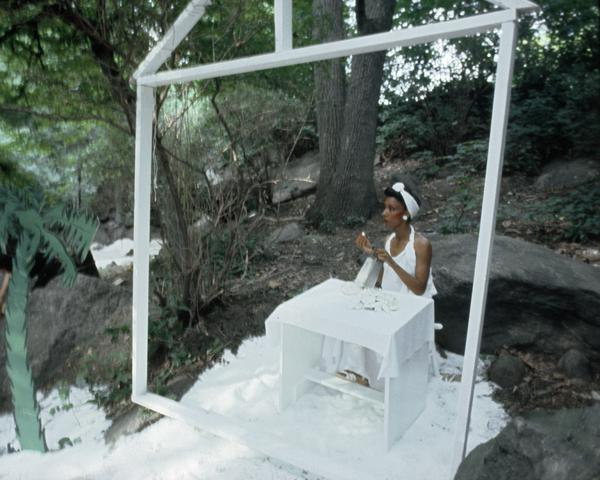 Rivers, First Draft: The Woman in the White Kitchen tastes her coconut  (1982/2015) Digital C-print from Kodachrome 35mm slides in 48 parts, 16h x 20w in (40.6h x 50.8w cm) Edition of 8 with 2 AP