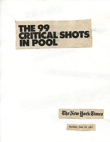 Cutting Out the New York Times, The 99 Critical Shots in Pool (1977) Part 1 of 12, Toner ink on adhesive label paper 11.02h x 94.49w in (27.99h x 240w cm)