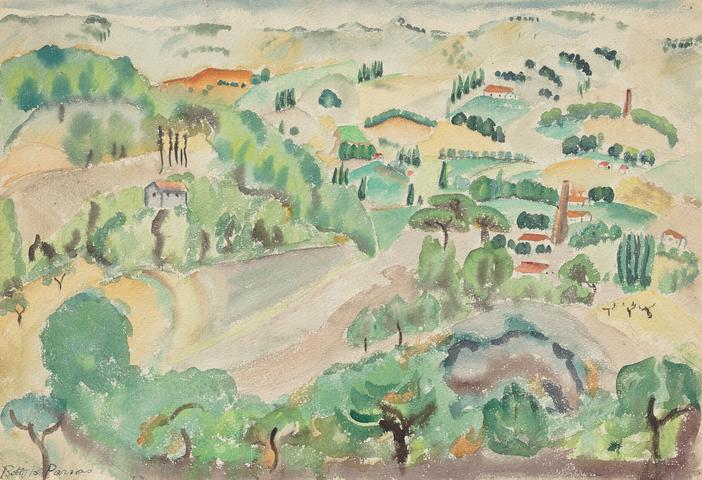 Aux en Provence (1927) Graphite and watercolor on paper  13.75h x 20w in (34.9h x 50.8w cm)