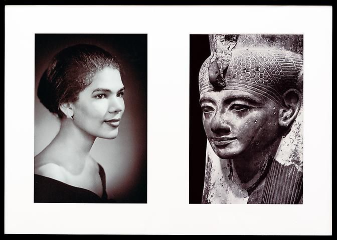 Misegenated Family Album (Sisters IV), L: Devonia's sister, Lorraine; R: Nefertiti's sister, Mutnedjmet   (1980/1994) Cibachrome prints; Edition of 8 with 1 AP 26h x 37w in (66.04h x 93.98w cm)