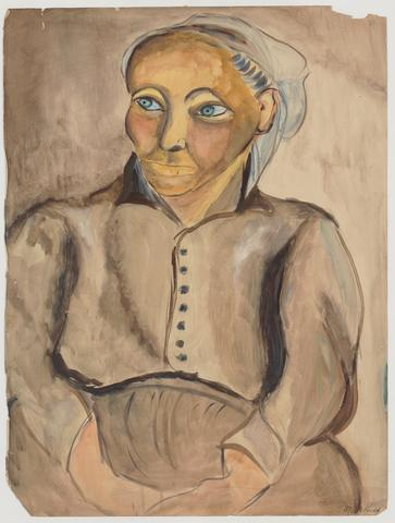 Breton Woman (1929) Pencil and gouache on paper 24h x 17.75w in (61h x 45.1w cm)