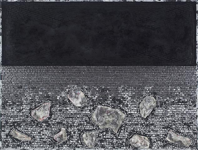 Jack Whitten Time's Dilemma (2011) Acrylic on canvas; 51h x 67w in (129.54h x 170.18w cm)