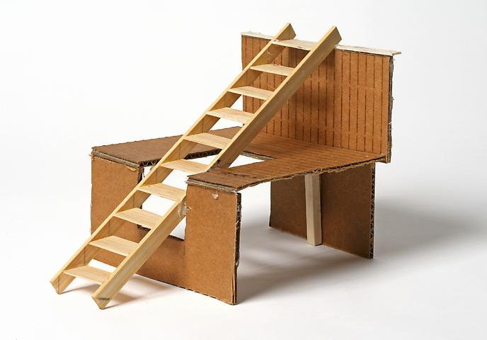 Dictionary for Building Stairs No. 5 (1976) Cardboard and balsa wood 6.75h x 6w x 6d in (17.1h x 15.2w x 15.2d cm)