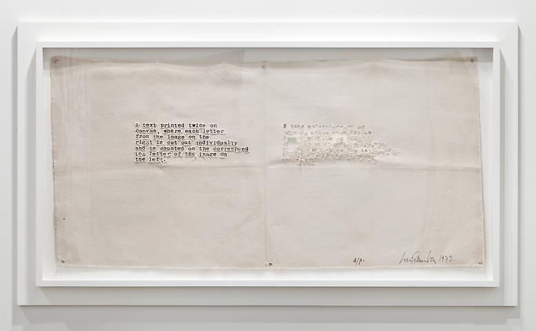Luis Camnitzer: A Text Printed Twice on Canvas (1972) Art Basel Miami Beach 2012 Installation view