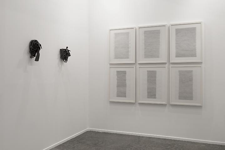 Melvin Edwards, Addis A. (2007); Melvin Edwards, Bara Niasse Tugge (2008); Hassan Sharif, Horizontal Lines (2012) Art Dubai 2013 Installation view