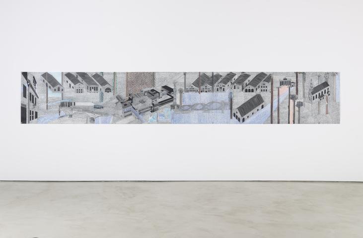Siah Armajani, <i>Written Berlin, Tomb for Dietrich Bonhoeffer and Walter Benjamin</i> (2014-2015) Graphite, ink on mylar 36h x 227.5w in (91.4h x 577.9w cm)