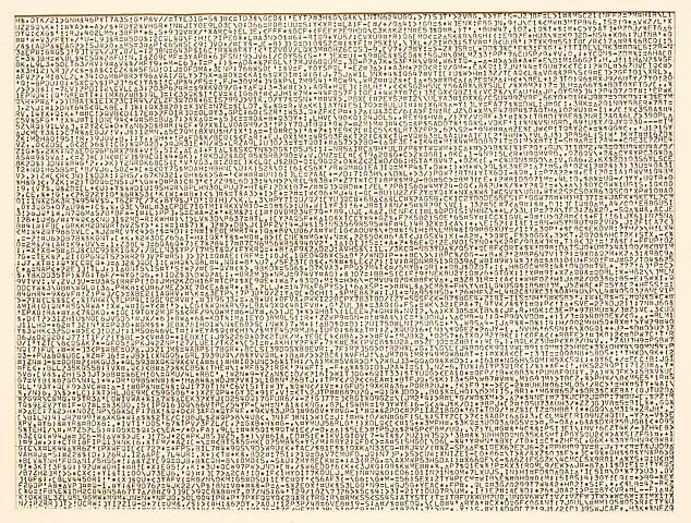 Not Yet Certain (1968) Computer paper printouts in 6 parts 10h x 14w in (25.4h x 35.6w cm) (each)