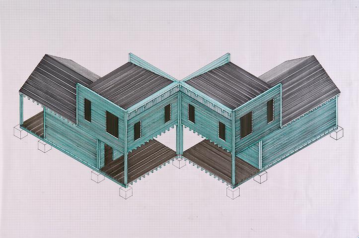 Siah Armajani Tomb for Heidegger (2012) Felt pen on graph paper; 24h x 36w in (61h x 91.4w cm)